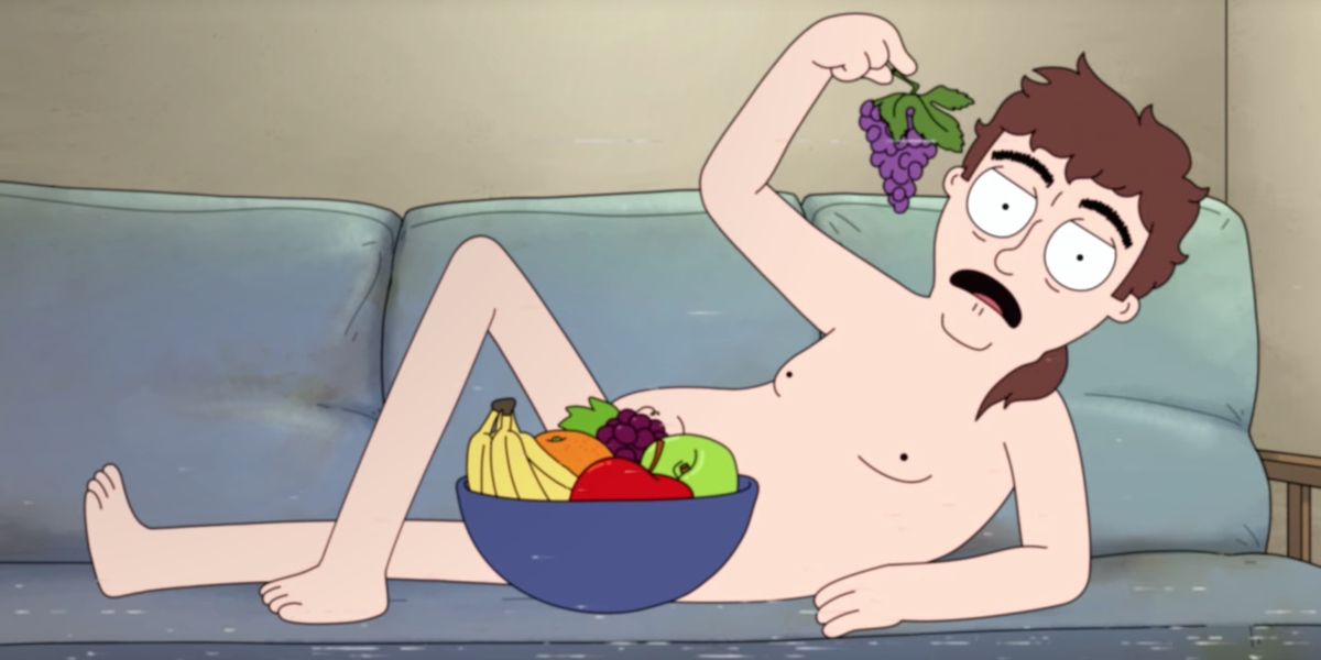 hoops ben hopkins eating fruit bowl while nude