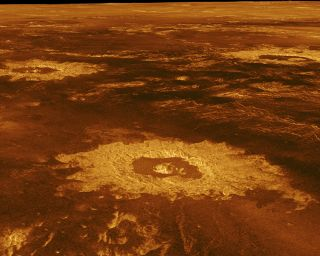 An image of craters on the surface of Venus produced by NASA's Magellan mission, which ended in 1994.