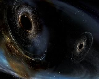 This artist's concept shows two black holes approaching a collision. A third such event was spotted by the LIGO gravitational wave experiment on Jan. 4, 2017.