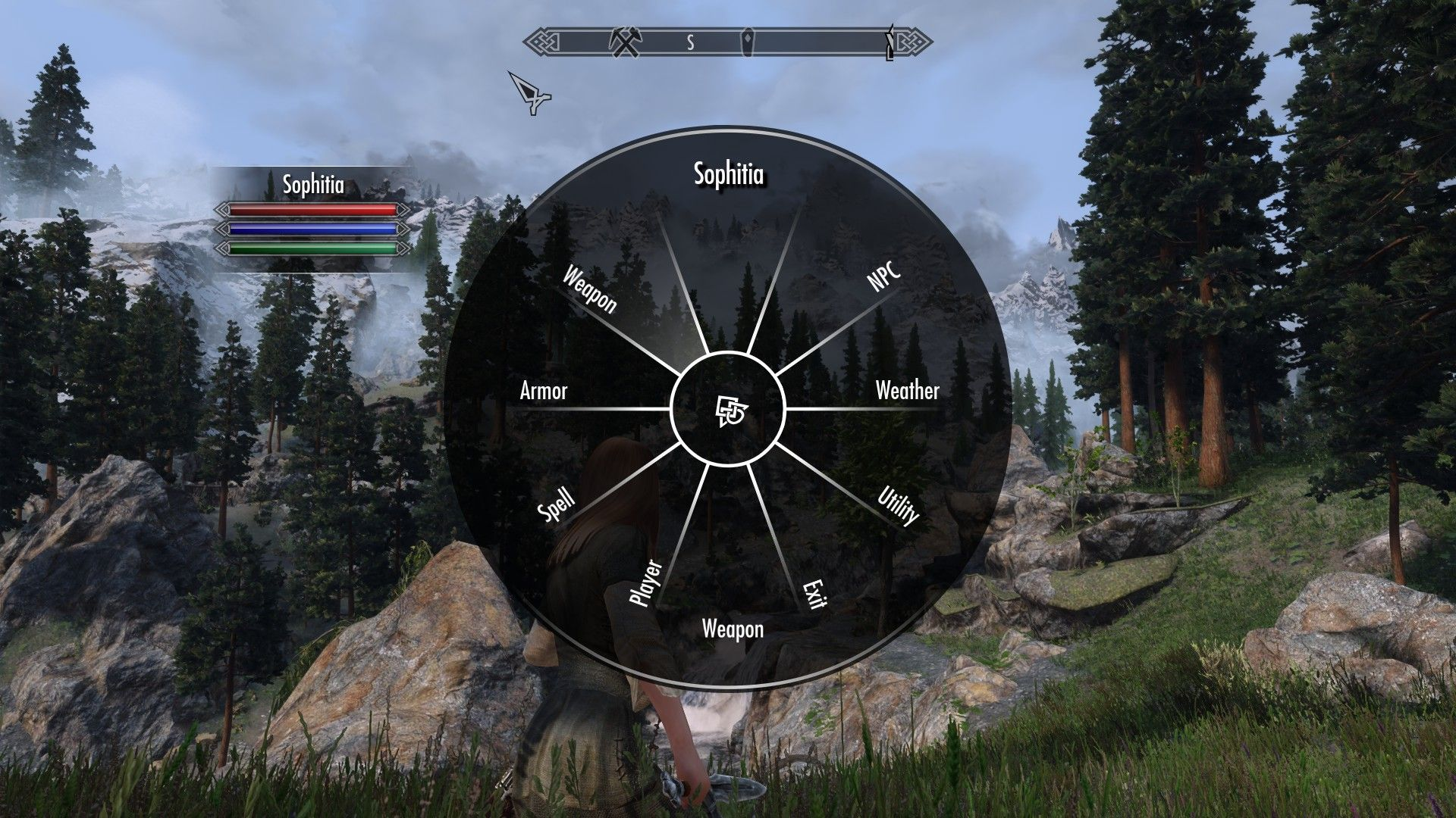 A menu for the Project Proteus Skyrim mod with options to edit NPCs, weather, the player, and so on