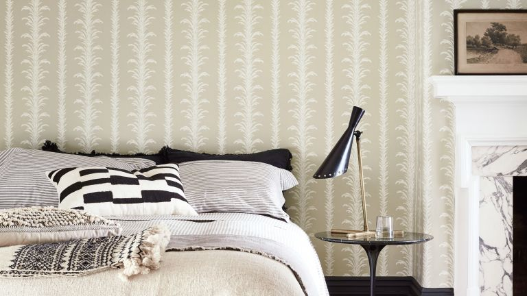 Wallpaper in bedroom by Little Greene