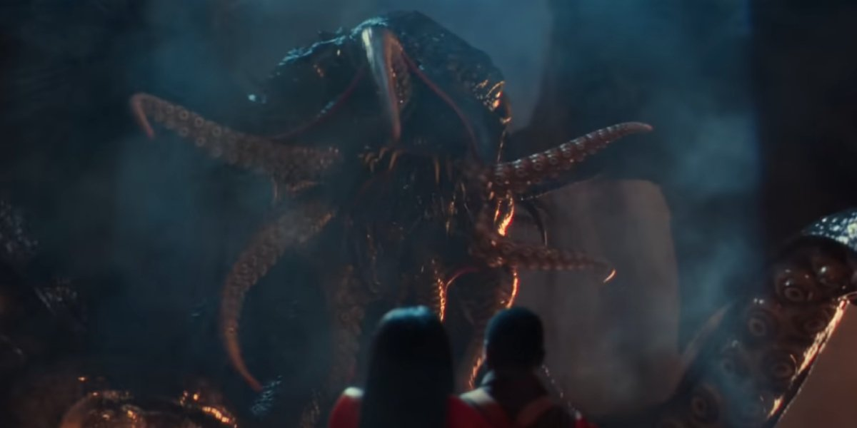 Jamie Chung, Jonathan Majors, and Cthulu in Lovecraft Country