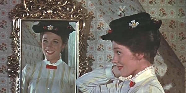 Mary looking in the mirror in the original