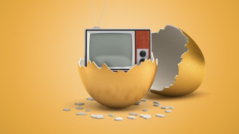 Netflix, 3d rendering of retro TV set that just hatched out from golden egg