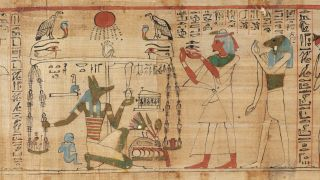 A detail from a Book of the Dead segment, housed at the Egyptian Museum in Turin, Italy. The scenes on this version of the book are similar to those seen on the fragments in New Zealand and Los Angeles.