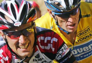Ivan Basso and Lance Armstrong at the 2005 Tour de France