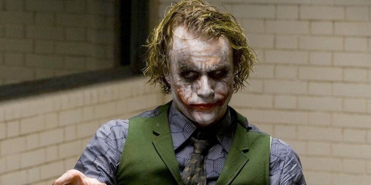 The Joker (Heath Ledger) sits in a police interrogation room in 'The Dark Knight'