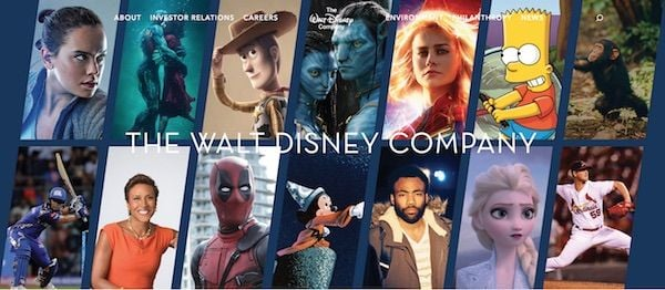 Walt Disney Company website banner