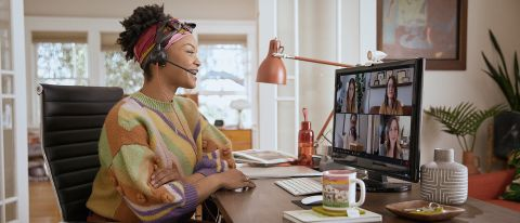Woman on video conference using Poly Studio P5