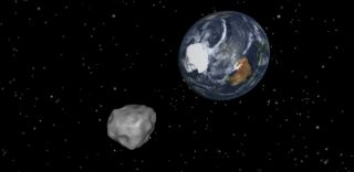 Asteroid 2012 DA14 Earth Flyby Art