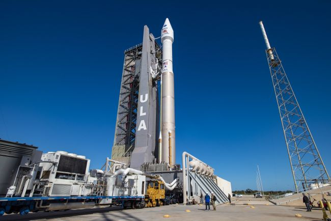 The United Launch Alliance Atlas V rocket carrying the Solar Orbiter, a joint mission by the European Space Agency and NASA, stands atop Space Launch Complex-41 at Cape Canaveral Air Force Station, Florida ahead of a planned Feb. 9, 2020 launch.