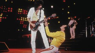 Queen's Brian May and Freddie Mercury on stage in 1986