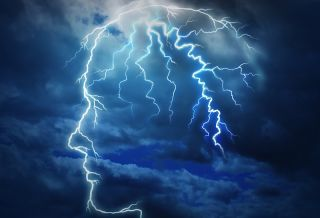 An artist's image shows a stormy human mind.