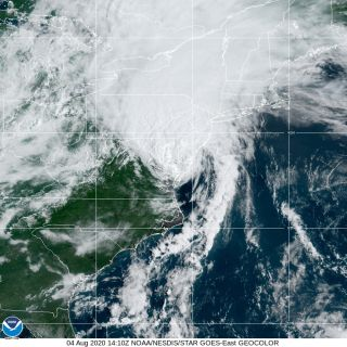 Tropical storm Isaias on Aug. 4 at 10:10 a.m. ET