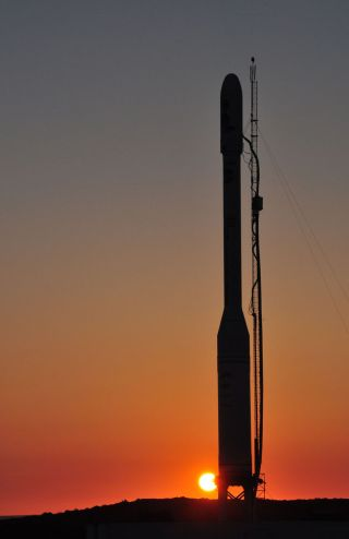 The Glory satellite's Taurus XL rocket stands on Space Launch Complex 576-E at Vandenberg Air Force Base in California.