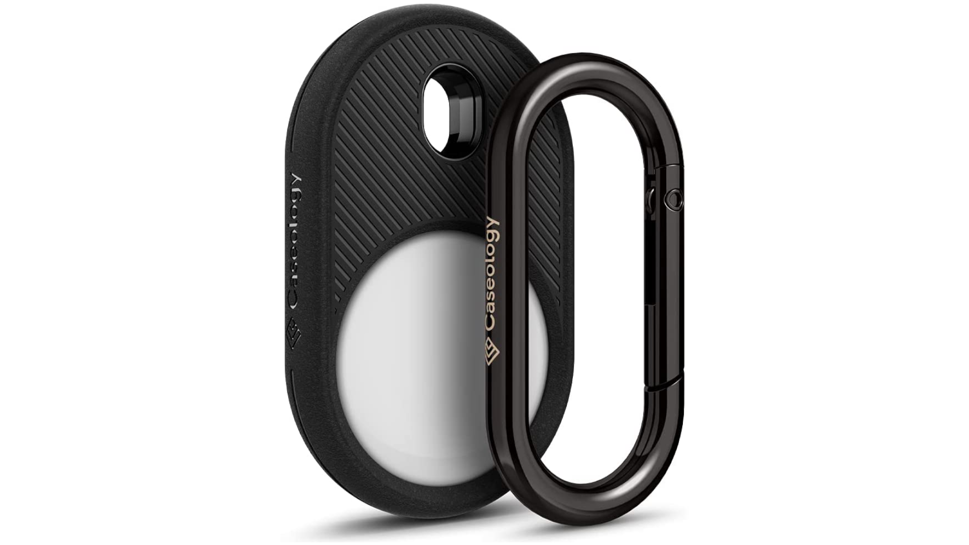 A Caseology case and carabiner for Apple AirTag