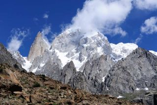 Unlike the rest of the Himalayas, which are losing mass, the Karakoram glaciers seem to be holding steady or even gaining ice, finds a new study. (Shown here, the Karakoram's Hunza and Lady Finger peaks.)