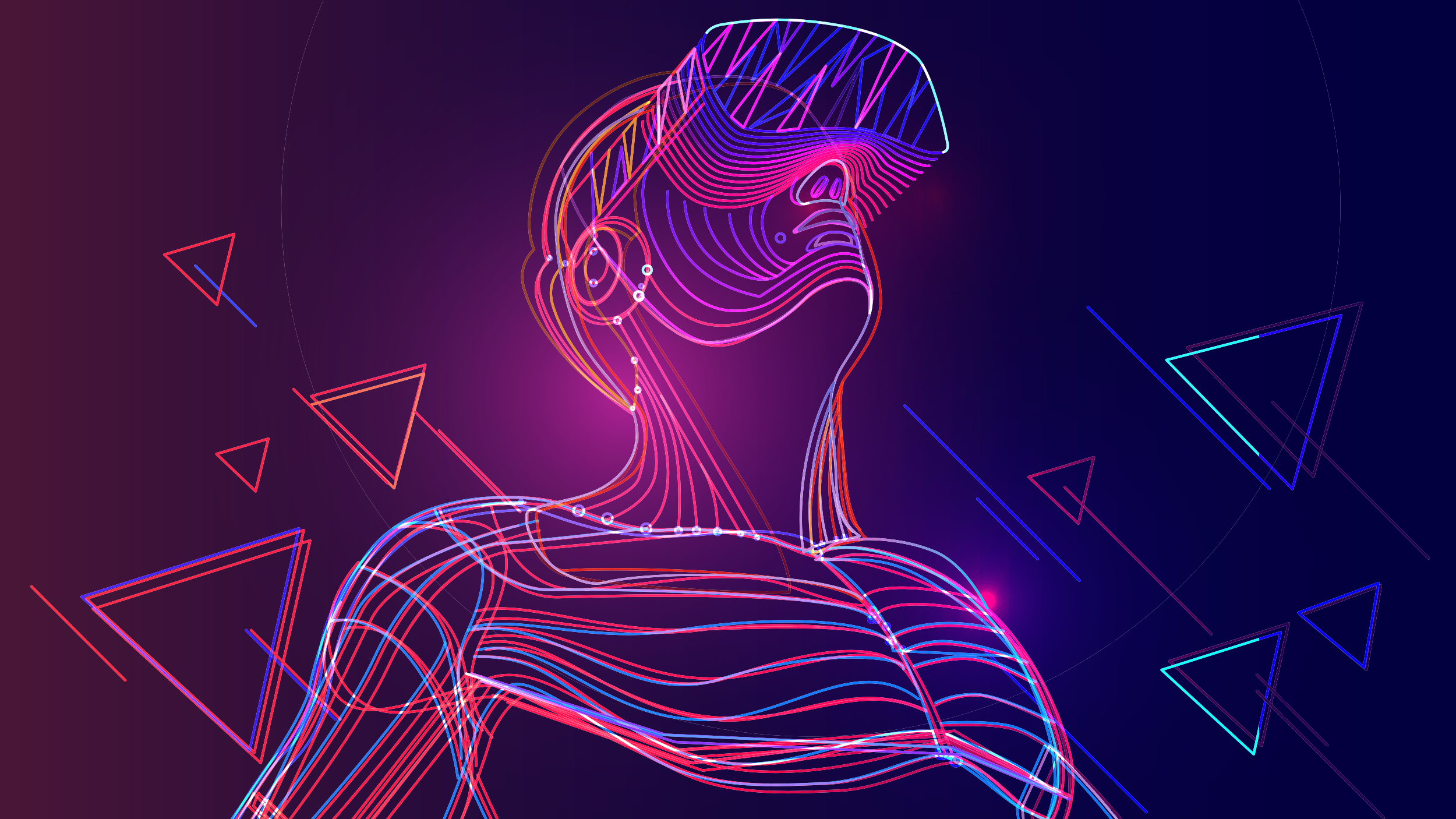 Image of a person wearing a VR headset surrounded by triangles