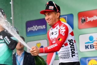Lotto Soudal's Caleb Ewan celebrates his 10th and final victory of 2019 at the Brussels Cycling Classic