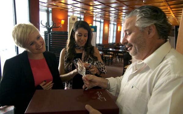 Natalie Dean flutters her eyelashes for champagne flutes (Boundless/BBC)
