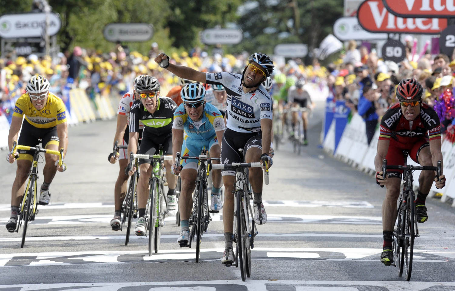 Alberto Contador and stage winner Cadel Evans, Tour de France 2011, stage four