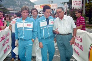 Roberto Visentini and Stephen Roche at the 1986 Trofeo Baracchi