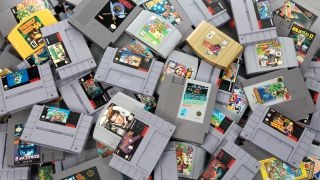 A pile of NES, SNES and N64 cartridges