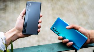 TCL 20 Pro in its black and blue color options