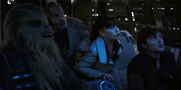 Solo: A Star Wars Story Woody Harrelson Emilia Clarke Alden Ehrenreich Han and his worried crew in t