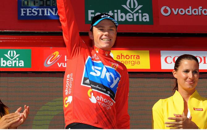 Chris Froome in the 2011 Vuelta a Espana leader's jersey