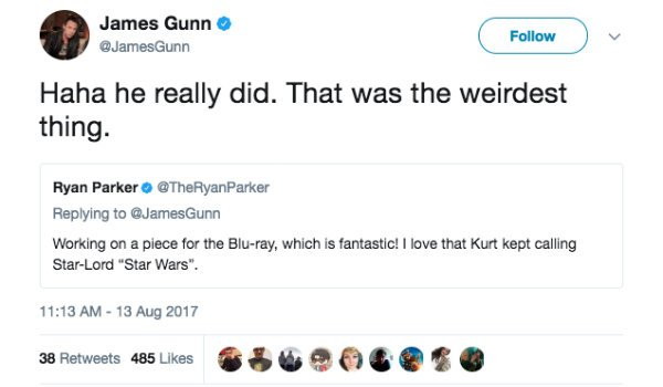 James Gunn guardians of the galaxy Vol. 2 tweet