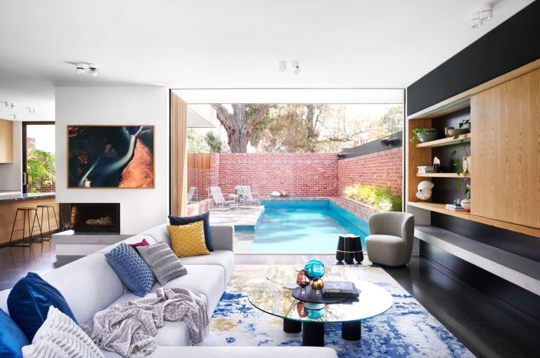 Colorful modern home with swimming pool