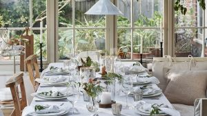 White company laid table with products