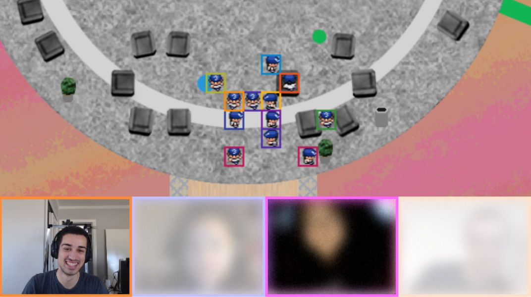 Online Town is like a Zoom meeting set inside a JRPG scene