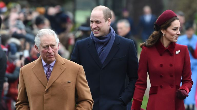 The Prince of Wales, the Duke of Cambridge, the Duchess of Cambridge, the Duchess of Sussex and the Duke of Sussex arriving to attend the Christmas Day morning church service at St Mary Magdalene Church in Sandringham, Norfolk