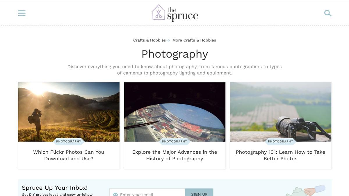 The Spruce: Photography screenshot