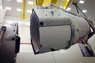 SpaceX prepares a Dragon space capsule to launch NASA cargo to the International Space Station from Cape Canaveral Air Force Station on April 13, 2015.