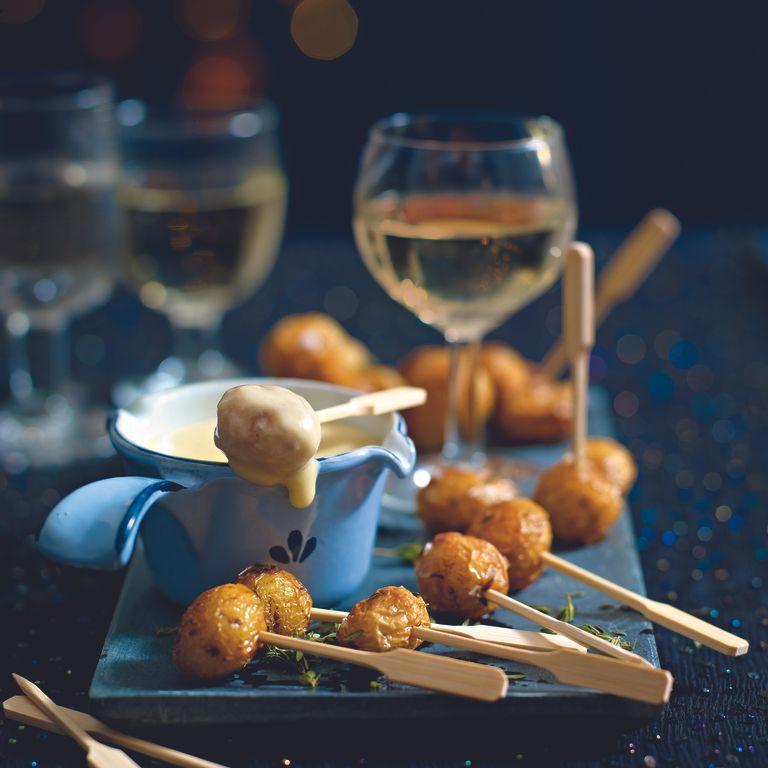 Cheese Fondue and mini potato roasties