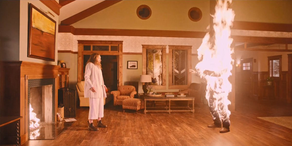 Toni Collette watches her husband burn in Hereditary