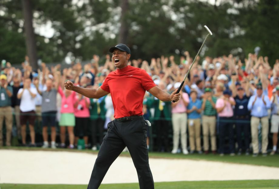 The Masters 2019 winner Tiger Woods celebrates victory