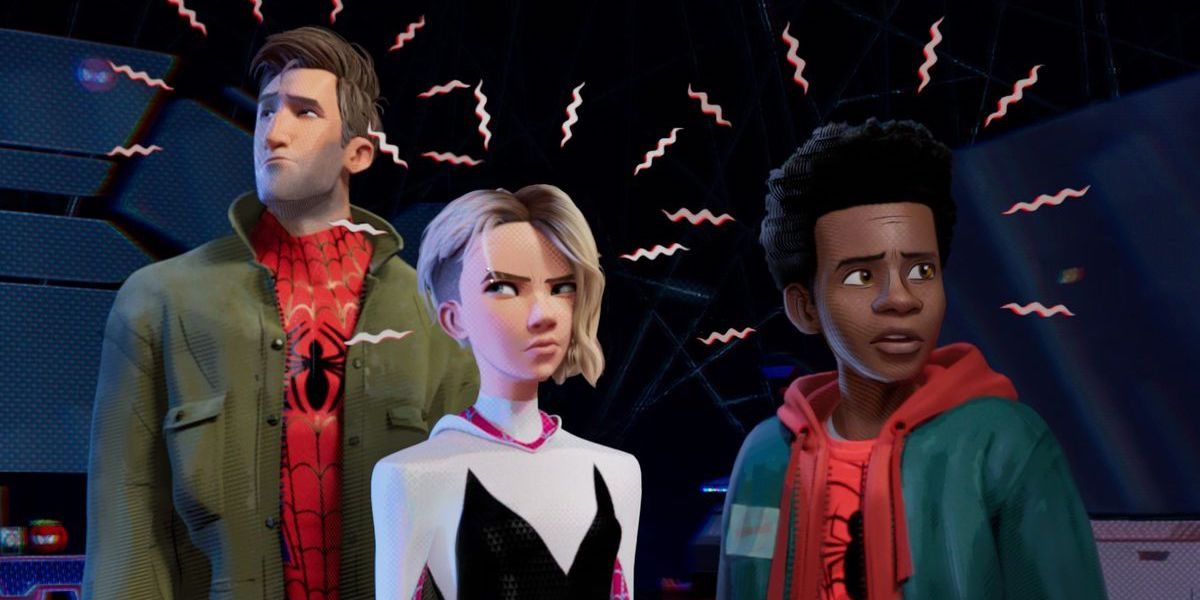 Jake Johnson as Peter B. Parker, Hailee Steinfeld as Spider-Gwen and Shameik Moore as Miles Morales