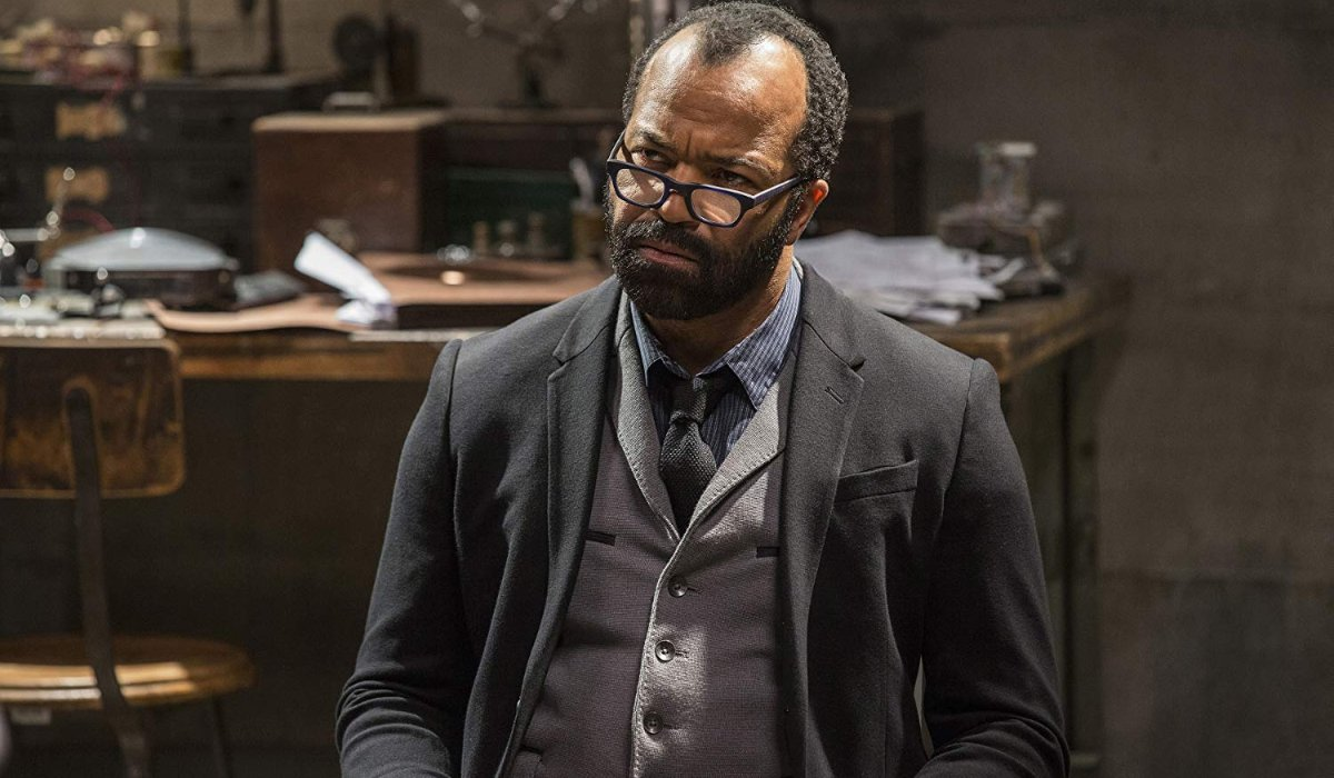 Westworld Jeffrey Wright looks perplexed in his lab