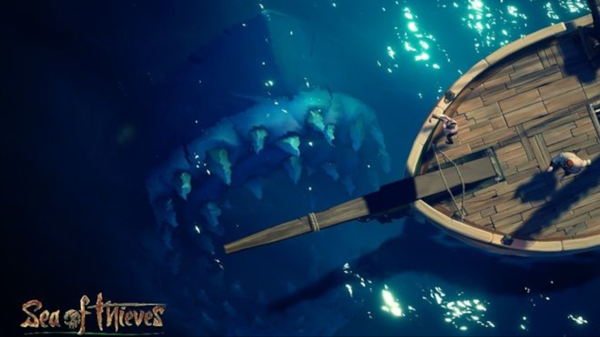 The Megalodon hiding just beneath the surface, approaching a ship in Sea of Thieves