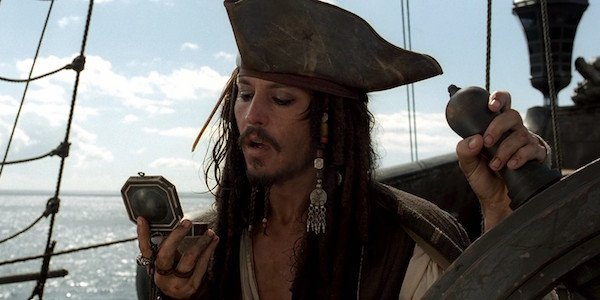 Johnny Depp as Jack Sparrow in Pirates of Caribbean: Curse of the Black Pearl