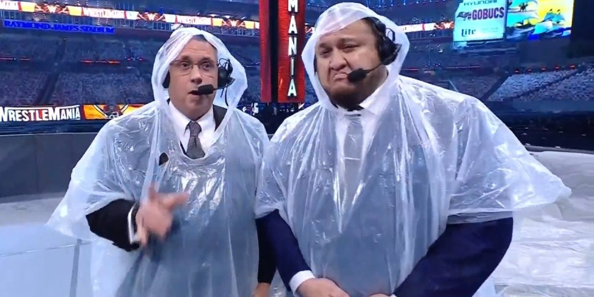 Michael Cole and Samoa Joe at WrestleMania 37