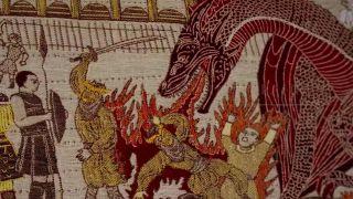 Dragon immolating peasants