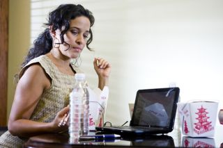woman working, fast food, laptop
