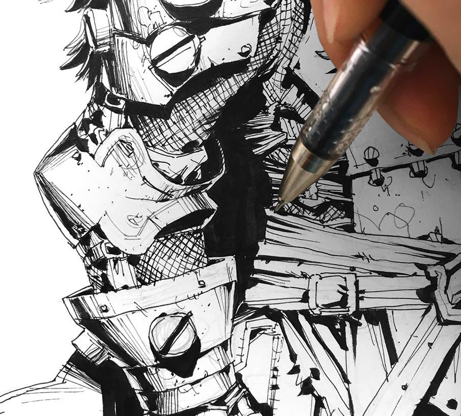 A brush pen inks black shadows onto the body armour