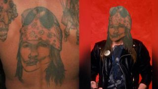 Bad tattoo of Axl Rose's face photoshopped onto the real thing