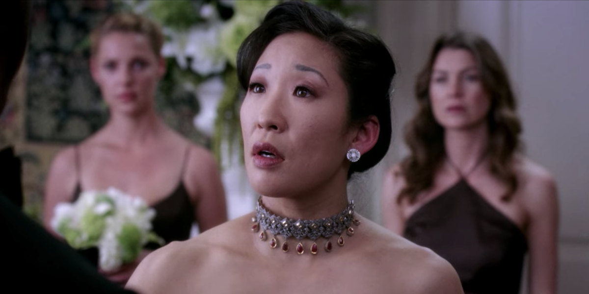 Grey's Anatomy Cristina reacts to Burke calling off their wedding with Meredith and Izzie in background